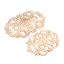 1Pc Decorative Wood Applique Carved Decal Corner Onlay Unpainted Wood Furniture for Home Door Cabinet Decoration
