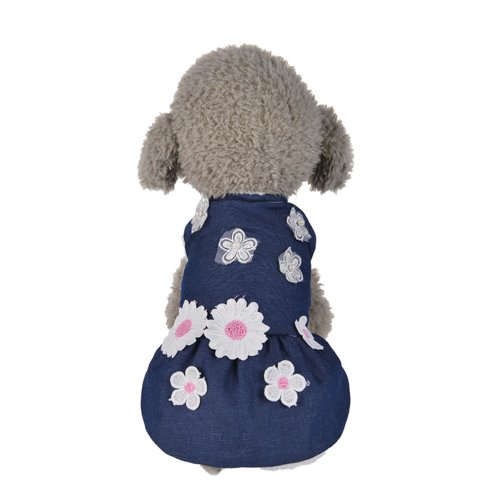 Flower Embroidered Winter Warm Padded Thickening Denim Dog Clothes Pet Puppy Clothing Jacket Coat Small Dogs Chihuahua Teddy