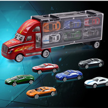12pcs/lot Portable Plastic Container Truck Alloy Car Model Toys Metal Cars toys for Children kid Birthday Gift(China)