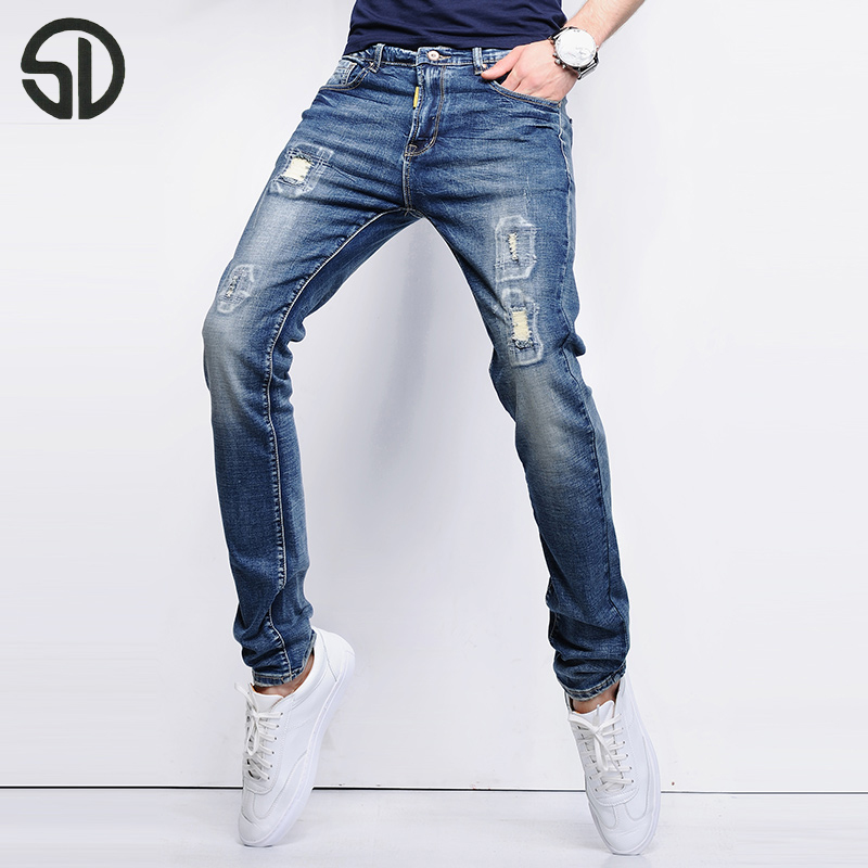 2017 New Fashion Lightweight Mens Jeans Casual ripped Hole Feet pants Long male Cotton Denim trouser designer jeans men 6616Îäåæäà è àêñåññóàðû<br><br>