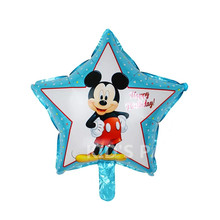 1pc blue balloon mickey star foil ballon for happy birthday Balloons party decoration globos baby shower children's toy stars