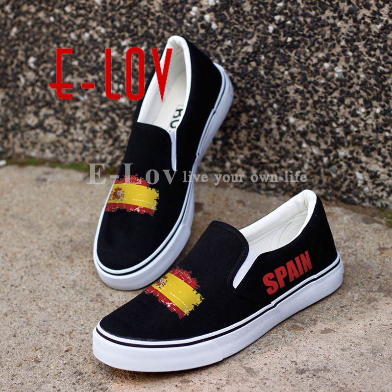 E-LOV Fashion Printed Spain Nation Flag Canvas Shoes Country Emblem Customized Spanish Casual Shoes Dropshipping<br>