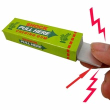 Hot! 3pc Safety Trick Joke Toy Electric Shock Shocking Chewing Gum Pull Head New Sale(China)