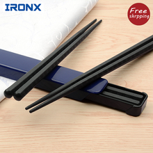 IRONX  Portable sushi chopsticks travel picnic black chop sticks set alloy Japanese style with box set  for gift