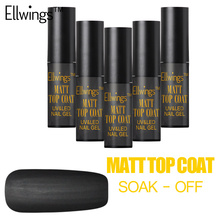 Ellwings Matte Top Coat Nail Gel Long Lasting Gel Polish Soak Off UV Nail Varnish with Black Purple Nail Art Set
