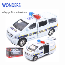 New arrival police Minibus 1:28 Alloy Diecast 3d microbus Car Model brand Car Toys Collection Bus Boy Children Gifts