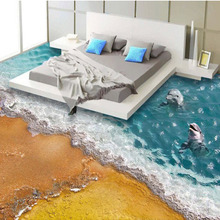 Custom 3D Stereoscopic Floor Wallpaper Beach Wave Dolphin Modern Style Bedding Room Bathroom Vinyl Mural Wall Papers Home Decor(China)