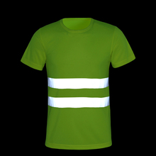 CCGK Safety Clothing Reflective High Visibility Tops Tee Quick Drying Short Sleeve Working Clothes Fluorescent Yellow Workwear(China)