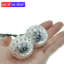 Warm white 10 Balls/Set Wholesale Moroccan String LED Fairy Lights Christmas Decoration LED Lamp Solar Powered Halloween(China)