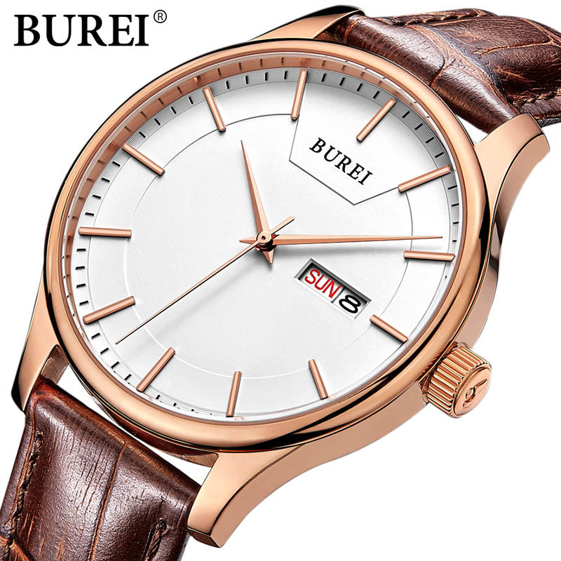 BUREI Famous Brand watch Fashion men Casual Quartz Wristwatches male Sports watch leather business clock hours relogio masculino<br>
