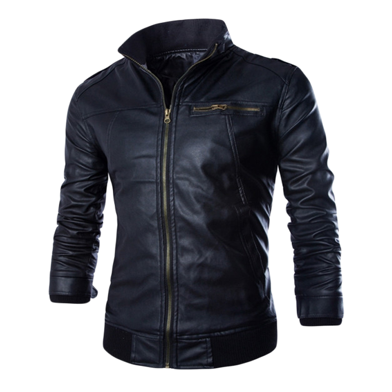 2017 New Fashion PU Leather Jacket Men Jaqueta De Couro Masculina Brand Mens Jackets And Coats Skinny Fit Motorcycle Jacket