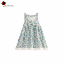 Cielblue Brand Summer Classical Female Child  Flowers Cotton Girl Dress Lace Flounce Children Clothing