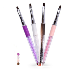 Nail Art Brush Pen Flat Painting Drawing Tips Design Builder Acrylic UV Gel Polish Rhinestones Crystal Metal DIY Manicure Tools(China)