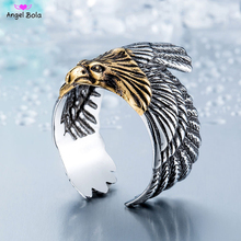 Unique Jewelry Feather Wing Ring Stainless Steel Biker Eagle Ring Man's High Quality Fahion Jewelry Drop Shipping LR-0B15