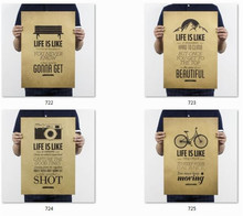 = wall posters life is like bicycle/camera/mountain/ paper retro poster pictures for home decor house bar pub kir room 51x35cm