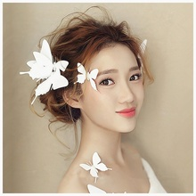 Fashion Lovely Hairpins Flying Bride White Artificial Butterfly Hairclips Hairgrips Brief Bridemaids Barrettes Hair Accessories