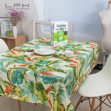LFH Tablecloth Green Plants Cotton Canvas Tropical Rainforest American Rustic Romantic Style Cloth Hotel Tablecloths(China)
