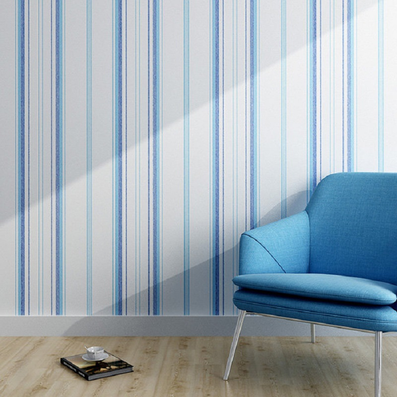 Blue and white stripe washable sitting room of contemporary and contracted child baby bedroom wallpaper wall roll Mediterranean<br>