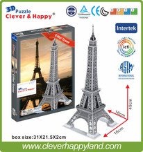 new clever&happy land 3d puzzle model Eiffel Tower adult puzzle diy paper warsaws model games for children paper(China)