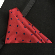 QXY mens fashion pocket square men tie handkerchief red with black dots paisley polyester silk cravat F020