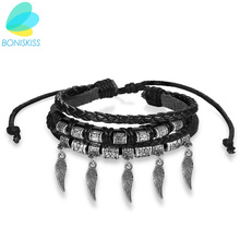 Boniskiss 2017 Fashion Leather Wings Bracelet for Women Charm Wing Bracelets & Bangles Female Friend Gift Party PUNK Jewerly(China)