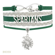 Custom- Infinity Love USC South Carolina Upstate Football Spartans Charms Bracelets For Women Jewelry Green Wrap Bracelets