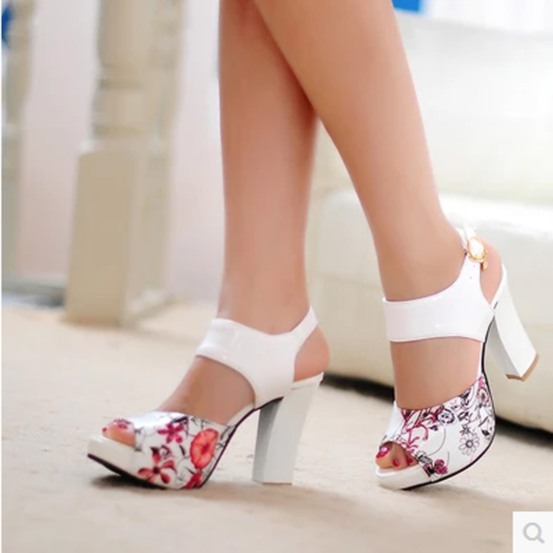 2017 Printed Flowers High Heels Women Sandals Sequined Ankle Strap Summer Dress Shoes Open Toe Party Shoes Platform <br><br>Aliexpress
