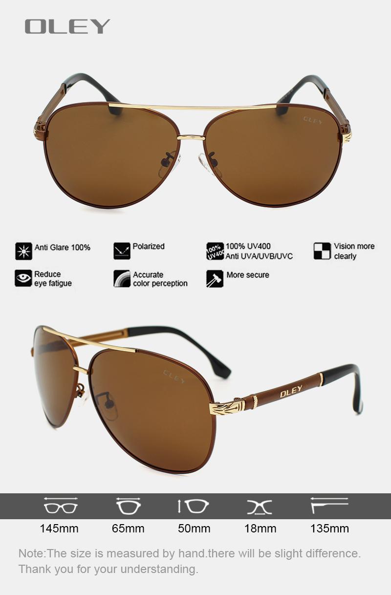 OLEY Luxury sunglasses men polarized Classic pilot Sun glasses fishing Accessories driving goggles gafas de sol zonnebril mannen 4