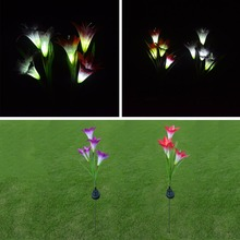 Waterproof Flower Light Solar Powered Light Lily Flower Garden Lamp Yard Decor White MY19_25(China)