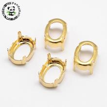 300pcs Oval Brass Rhinestone Claw Settings Golden Platinum Within the Error Range of 1mm,18x13x0.4mm; Fit for 13x18mm cabochons(China)
