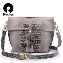 REALER brand women messenger bags genuine leather crossbody bag ladies handbags with tassel serpentine pattern leather bag(China)