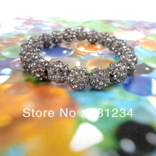Min. order is $9(mix order)  2016 New Arrival Fashion 15 colors Shamballa Bracelet Gray Crystal Beads Shamballa Bracelet