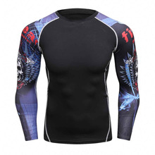 Men Compression Shirts MMA Rashguard Keep Fit Fitness Long Sleeves Base Layer Skin Tight Weight Lifting Elastic Mens T Shirts
