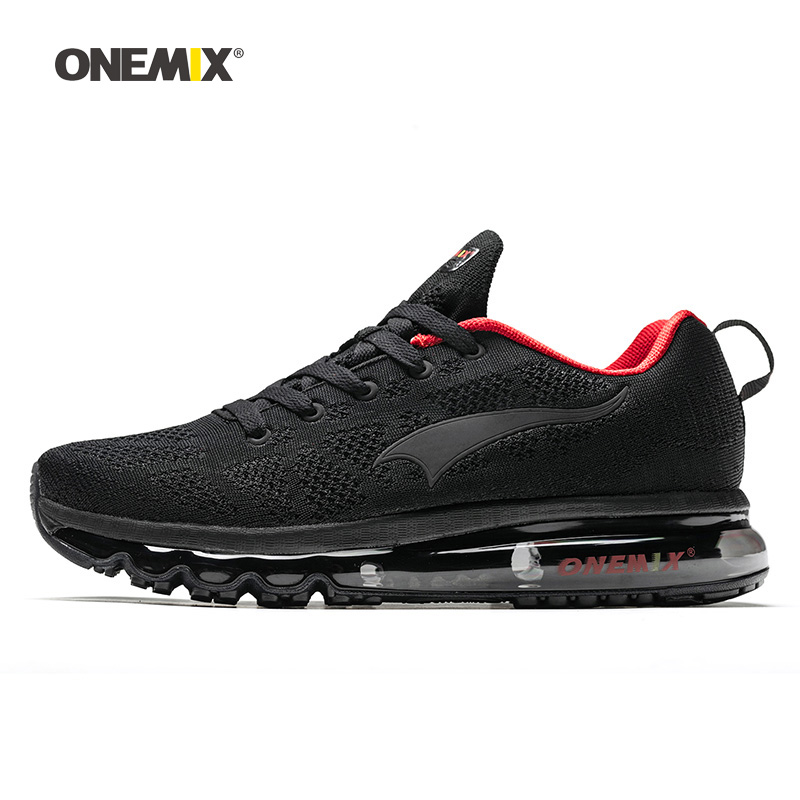 ONEMIX Man Running Shoes For Men Nice Zapatillas Athletic Trainers Black Red Sports Air Cushion Outdoor Jogging Walking Sneakers(China)
