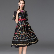 woman dress 2017 NEW High quality spring summer Clothing Print Vintage flower Dress plus size party embroidery dresses black