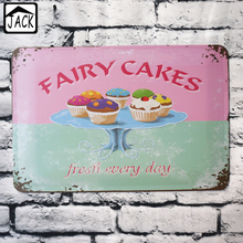 Fairy Cake Cup Cake Tin Painting 8X12inch Vintage Poster Metal Tin Signs Tin Plaque Advertising Shop Bar Home Kitchen Wall Decor(China)