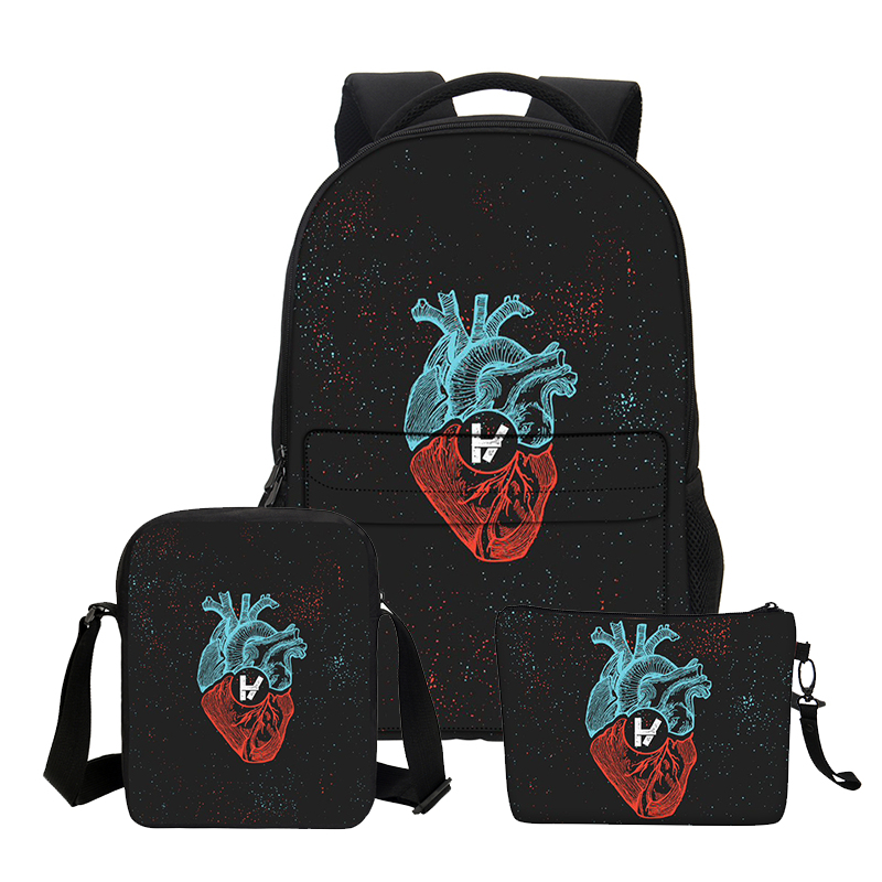 VEEVANV Boys School Backpacks Fashion 3 PCS/SET Twenty One Pilots Printing Shoulder Bags for Teenage Girls Cool Cortoon Bookbags<br>