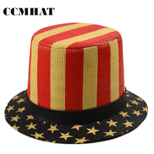 Top Hats For Men 2017 Novelty Paper Uncle Sam Hats Usa Flag Stripe Print Chapeu De Feltro Men Fedoras Chapeu Masculino Magic Hat(China)
