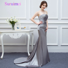 Mermaid Long Evening Dresses 2017 Sexy Off the Shoulder Gray Color Satin Evening Dress Formal Evening Party Gowns Vestidos