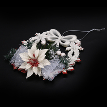 N2HAO HOT 1PC White Christmas Tree Garland Wreath Window Ornaments Christmas Tree Hanging Decor 18*18cm