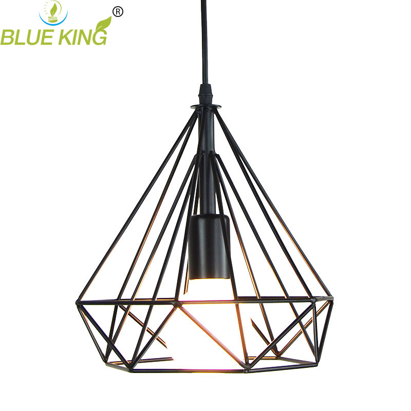 Modern LED Nordic creative unique single diamond metal iron Pendant light For Bar Or coffee shop shopping malls<br>