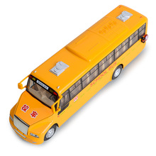 EFHH 1:32 School Bus Alloy Vehicle Model Diecast Yellow Musical Flashing Pull Back Door Can Open Collection Toy Drop Shipping