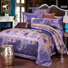 Diamond blue jacquard 4pcs bedding set tribute silk/cotton comforter cover cotton bed sheet colorful bedding new arrive 5666