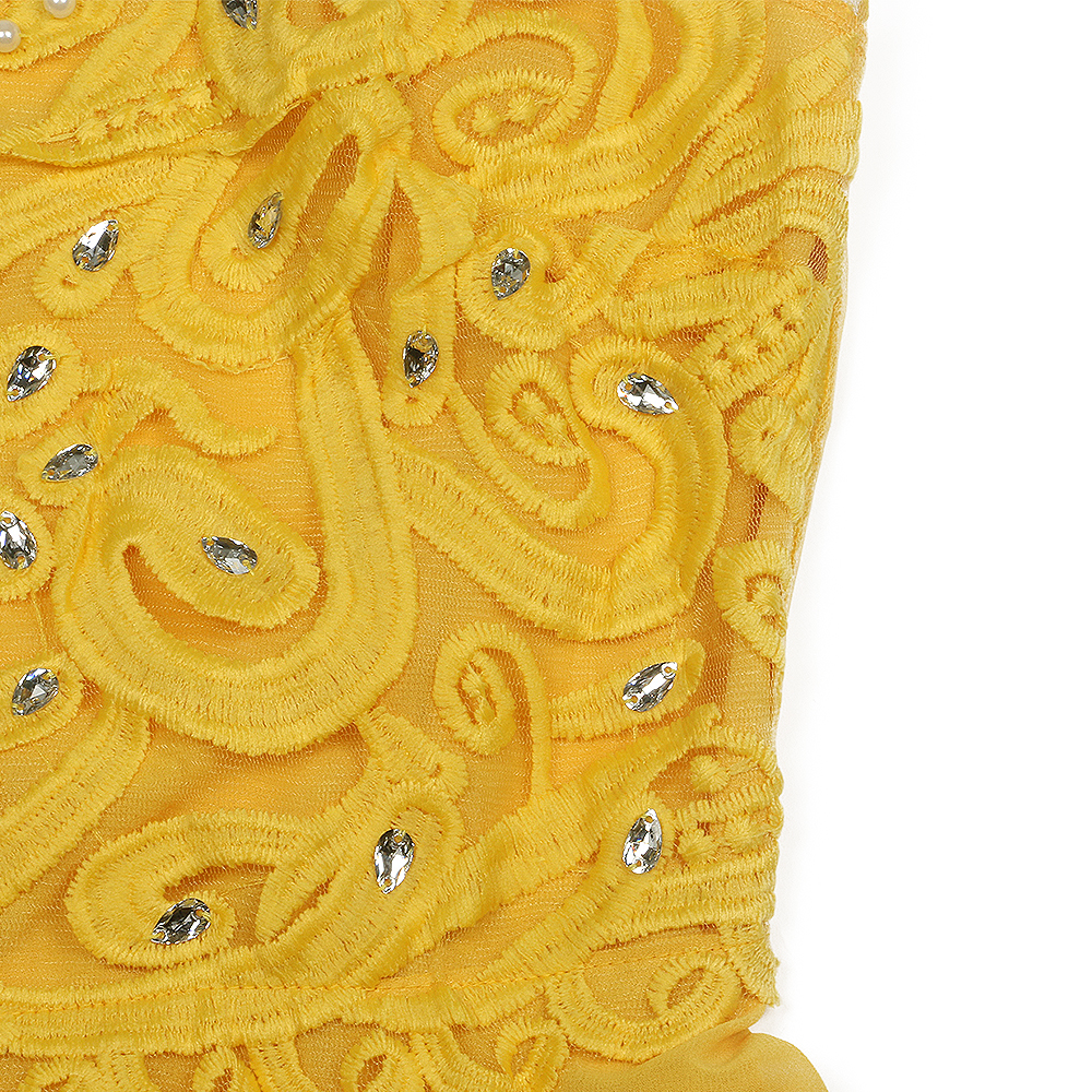 Yellow Lace Hollow Out Women Dresses 7