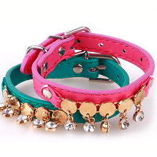 3 Colors Beautiful Fashion PU Leather Pet Puppy Dogs Collar Bell Adjustable Rhinestone Necklace Cat Collars Pet Neck Strap(China)