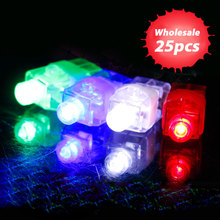 25pcs LED Flashing Lights Glowing Finger Rings Color Laser Emitting Lamps Wedding Celebration Birthday Party Decoration Kids Toy