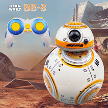 Free Shipping Intelligent Star Wars Upgrade RC BB8 Robot With Sound Action Figure Gift Toys BB-8 Ball Robot 2.4G Remote Control(China)