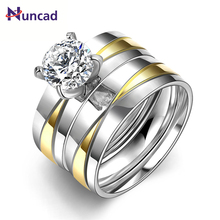 New Fashion Titanium Steel Rings CZ Wedding Rings for Women Men 24K white Gold Plating Couple Engagement Ring Jewelry
