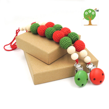 set of 12 wholesale chunky beads christmas gift  Red and green crochet beads wood Teething  pacifier dummy holder NT168
