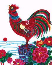 Frameless diy digital painting Cock digital paint by numbers rooster diy oil painting drawing practice for kids modular painting(China)